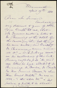 Letter from Maria Weston Chapman, Weymouth, [Mass.], to Francis Jackson Garrison, April 19th, 1880