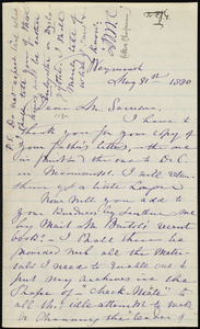 Letter from Maria Weston Chapman, Weymouth, [Mass.], to Francis Jackson Garrison, May 31st, 1880