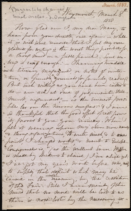 Letter from Maria Weston Chapman, Weymouth, [Mass.], to Mary Anne Estlin, March 8th, 1858