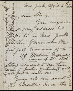 Letter from Maria Weston Chapman, New York, to Mary Anne Estlin, April 6th, 1863(?)