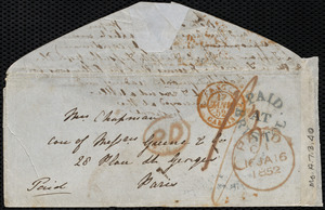 Letter from Emma Michell, Park St[reet], Bristol, [England], to Maria Weston Chapman, Jan'y 13th, [1852], Tuesday night