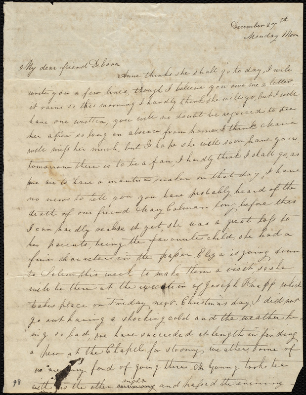 Letter from Sylvia Ann Ammidon to Deborah Weston, December 27th, [1830], Monday Morn[ing]