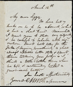 Letter from Maria Weston Chapman, [Cap Haitien, Haiti], to Elizabeth Bates Chapman Laugel, March 14th, [1841?]