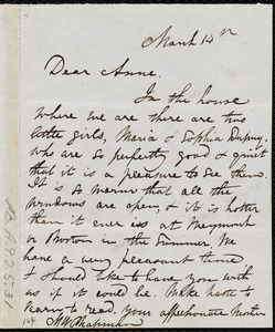 Letter from Maria Weston Chapman, [Cap Haitien?, Haiti], to Anne Greene Chapman Dicey, March 14th, [1841?]
