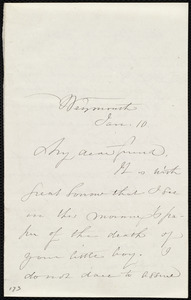 Letter from Maria Weston Chapman, Weymouth, [Mass.], Jan. 10