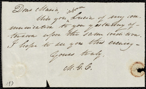 Letter from Mary Gray Chapman to Maria Weston Chapman