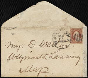 Envelope from Maria Weston Chapman, New York, [NY], to Deborah Weston, [not after] Dec. 18, 1880