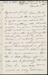 Incomplete letter from Eliza Lee Cabot Follen, Oxford Terrace, to Maria Weston Chapman, March 12th, [1853?]