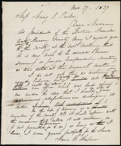 Draft of letter from Maria Weston Chapman to Mary S. Parker, Nov. 17, 1837