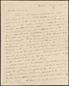 Letter from Edmund Quincy, Dedham, [Mass.], to Anne Warren Weston, May 21, 1840
