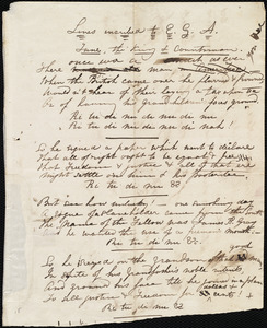 Draft of poem from Maria Weston Chapman, [Boston?, Mass.], to E.G.A., [1840?]