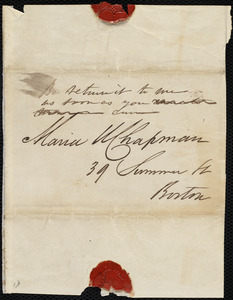 Envelope addressed to Maria Weston Chapman