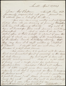 Letter from Horatio W. Foster, Lowell, [Mass.], to Maria Weston Chapman, April 18, 1843