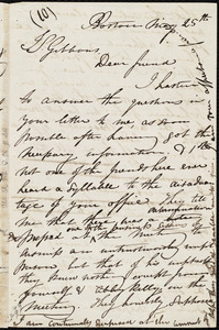 Draft of letter from Maria Weston Chapman, Boston, [Mass.], to James Sloan Gibbons, May 25th, [1843]