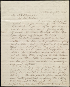 Letter from Paulina Wright Davis, Utica, [NY], to Maria Weston Chapman, Aug. 29, 1843