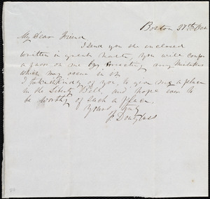 Letter from Frederick Douglass, Boston, [Mass.], to Maria Weston Chapman, 27th Oct. [1844?]