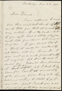 Letter from Edmund Quincy, Cambridge, [Mass.], to Maria Weston Chapman, Nov. 30, [18]44