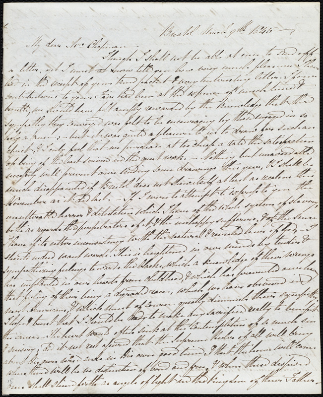 Letter from Mary Carpenter, Bristol, [England], to Maria Weston Chapman, March 9th, 1845