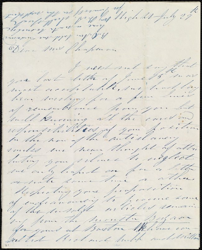 Letter from Annie Allen, High St[reet], [Dublin, Ireland], to Maria Weston Chapman, July 29th, [1845]