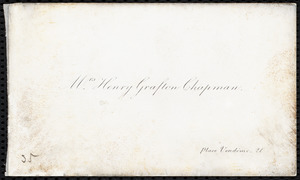 Visiting card from Maria Weston Chapman, Paris, [France]