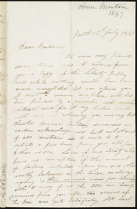Letter from Anne Morton, Perth, [Scotland], to Maria Weston Chapman, 1st July 1847