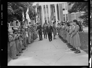 JFK & Jackie shake hands with Boy & Girl Scouts at school in Springfield