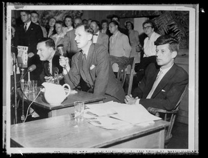 Famous debate between JFK & Henry Cabot Lodge, Jr., at Faneuil Hall during JFK's first Senate fight, 1952