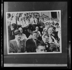 JFK at Harvard Stadium watching football game with Dave Powers & Larry O'Brien