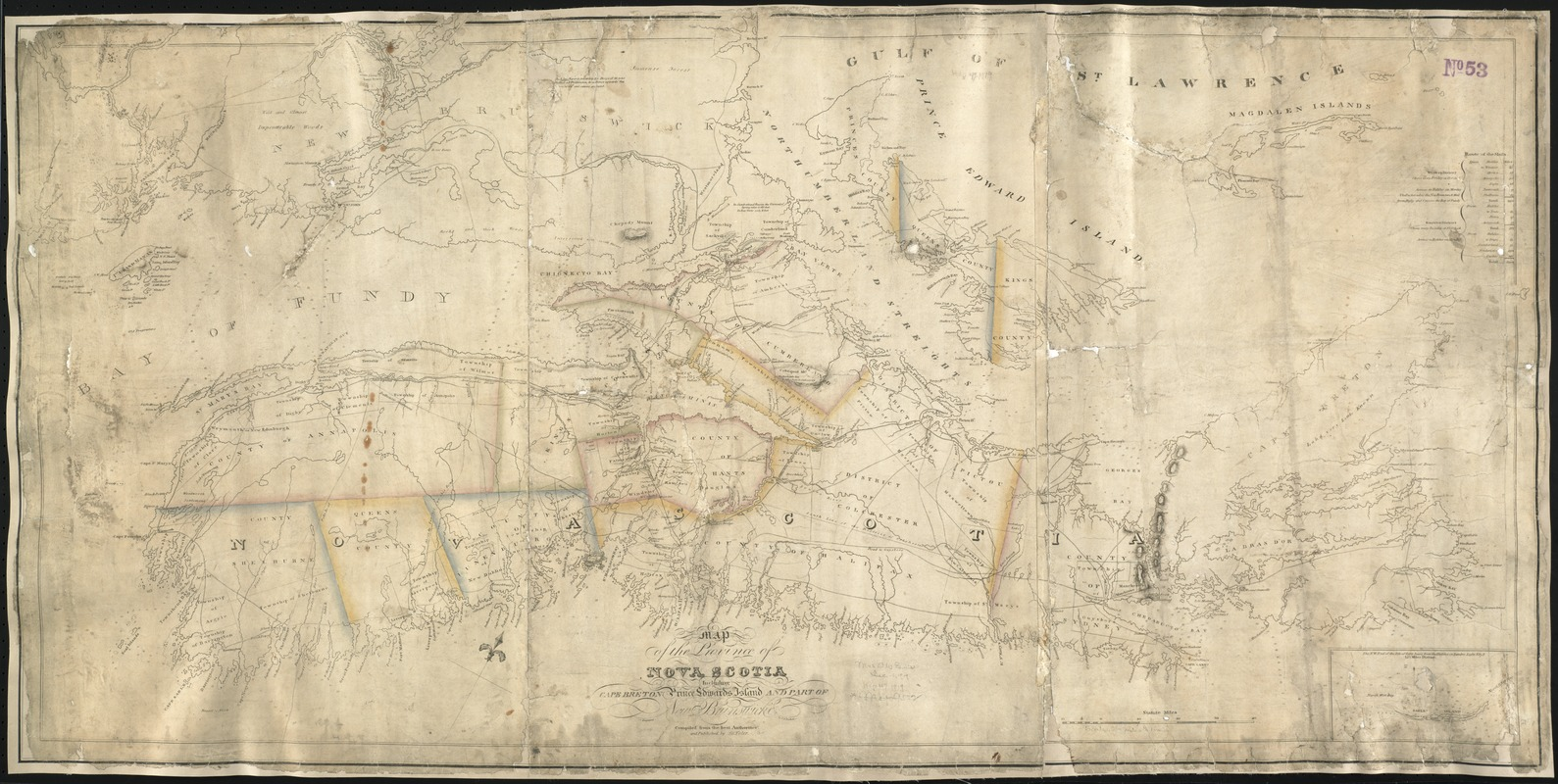 Map of the province of Nova Scotia including Cape Breton Prince Edwards Island and part of New Brunswick
