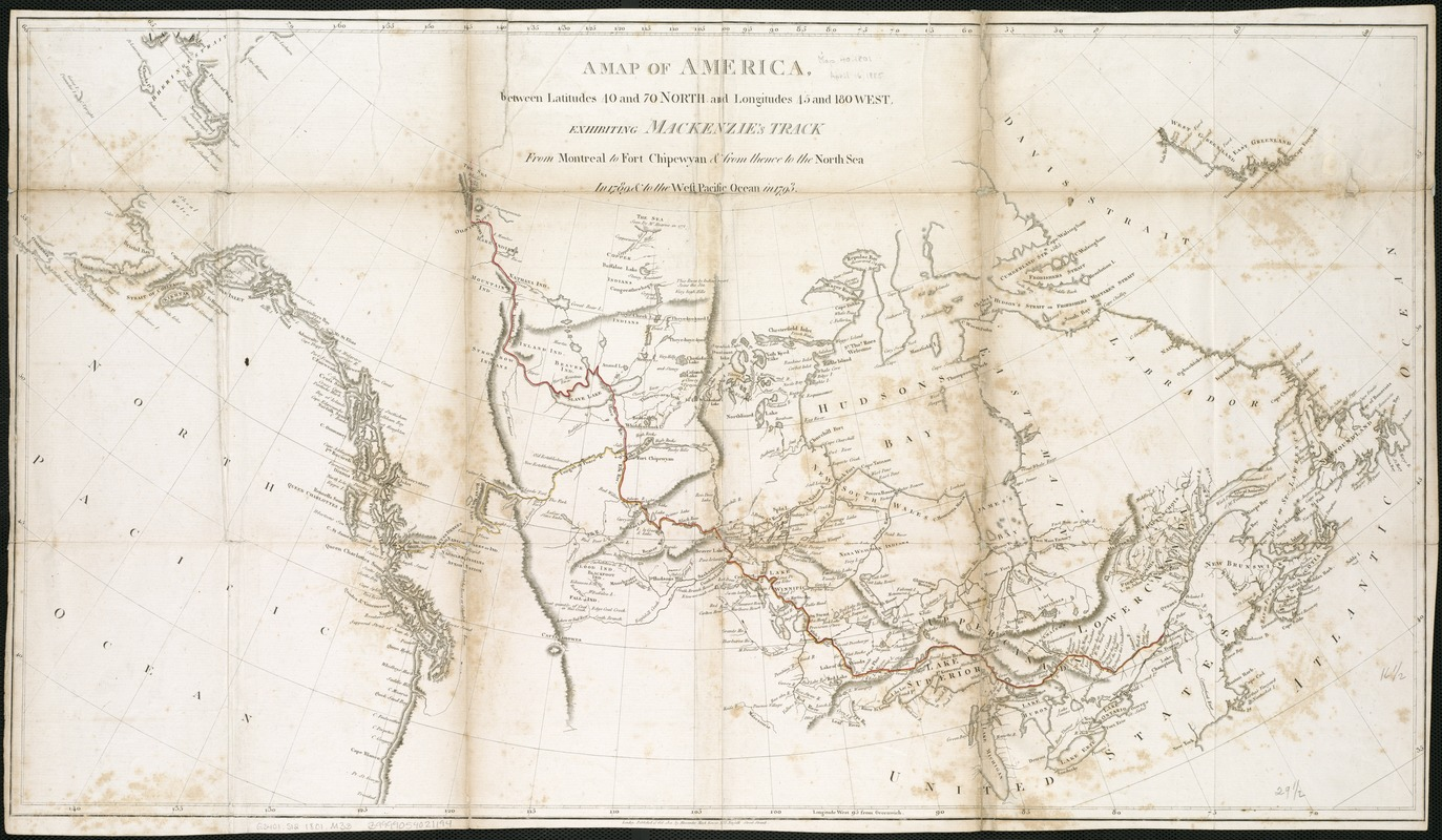 A map of America between latitudes 40 and 70 north and longitudes 45 and 180 west, exhibiting Mackenzie's track from Montreal to Fort Chipewyan & from thence to the north sea in 1789 & to the west Pacific Ocean in 1793