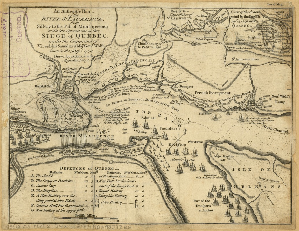 An authentic plan of the River St. Laurence, from Sillery to the Fall of Montmerenci