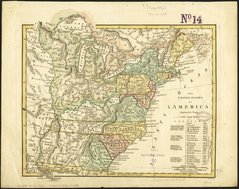 The United States of America confirmed by treaty 1783