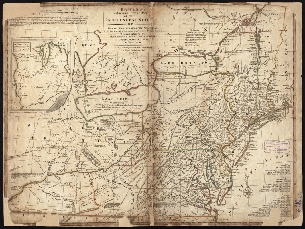 Bowles's new one-sheet map of the independent states of Virginia, Maryland, Delaware, Pensylvania, New Jersey, New York, Connecticut, Rhode Island, &c. comprehending also the habitations & hunting countries of the confederate Indians