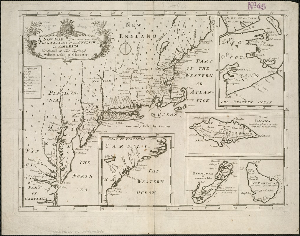 A new map of the most considerable plantations of the English in America