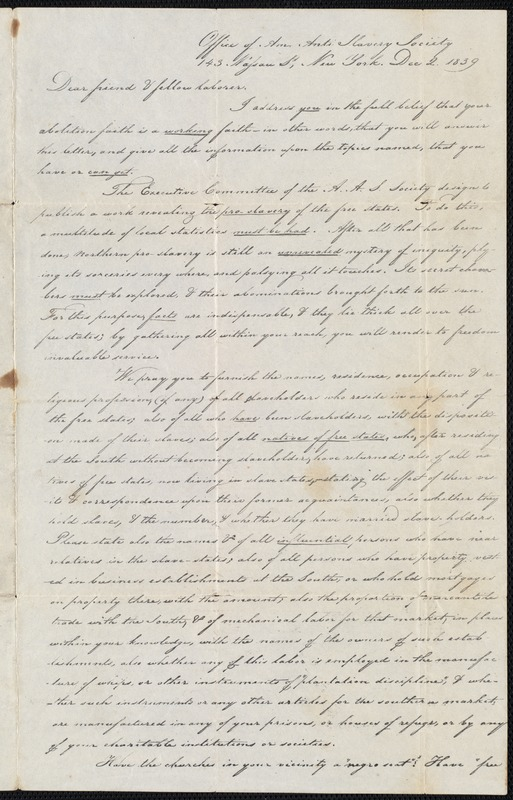 Letter to Jasper Beament on behalf of the American Anti Slavery Society