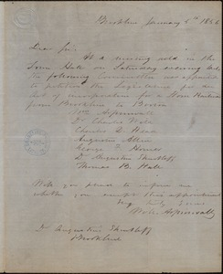 Letter informing Dr. A. Shurtleff of appointment of committee to petition for railroad service between Brookline and Boston