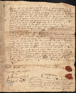Deed of land from Thomas Stedman to Benjamin and Samuel White