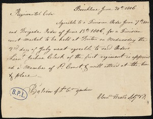 Brigade order for court martial to be held July 2, 1806