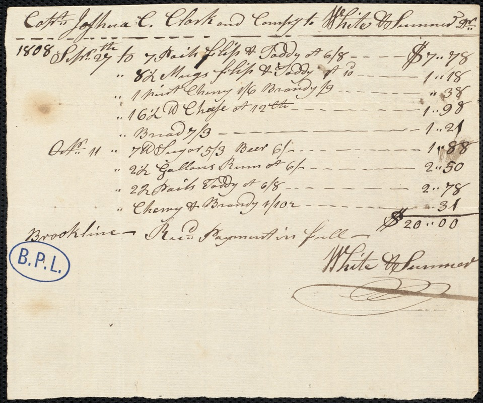 Account of Cpt. Joshua Clark and Company with White and Sumner