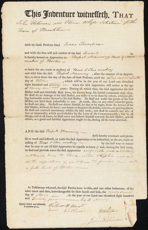 Indenture of Isaac Thompson to Russell Manning, shoemaker