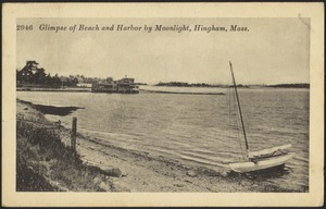 Glimpse of beach and harbor by moonlight. Hingham, Mass.
