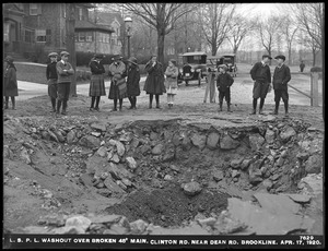 Distribution Department, Low Service Pipe Lines, washout over broken 48-inch main, Clinton Road near Dean Road, Brookline, Mass., Apr. 17, 1920