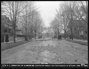Distribution Department, Low Service Pipe Lines, condition of Clinton Road, resulting from break in 48-inch main, Brookline, Mass., Apr. 17, 1920