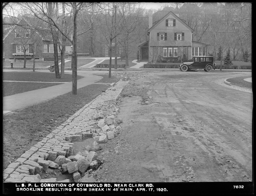 Distribution Department, Low Service Pipe Lines, condition of Cotswold Road near Clark Road, resulting from break in 48-inch main, Brookline, Mass., Apr. 17, 1920