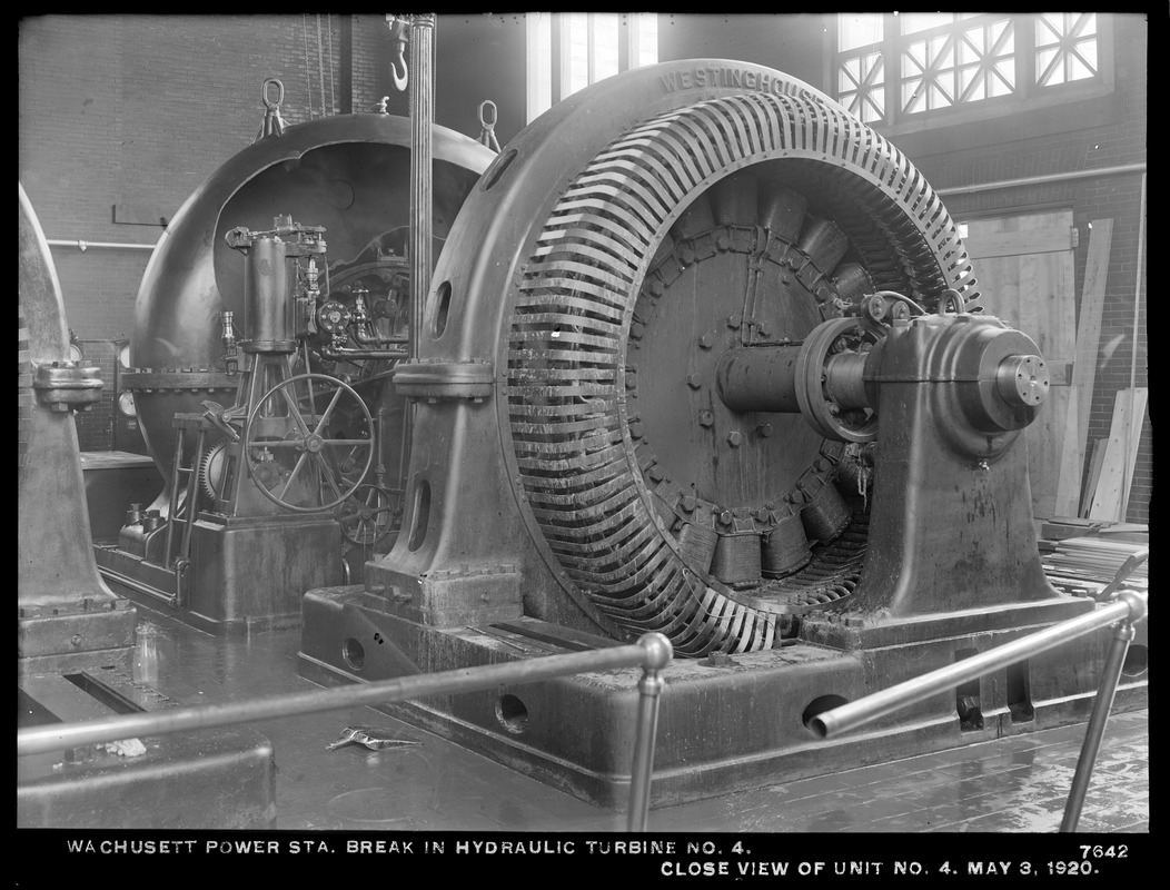 Wachusett Department, Wachusett Dam Hydroelectric Power Plant, break in hydraulic turbine No. 4, close view of unit No. 4, Clinton, Mass., May 3, 1920
