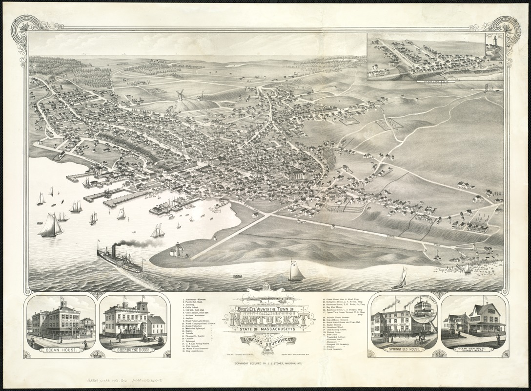 Bird's eye view of the town of Nantucket in the State of Massachusetts