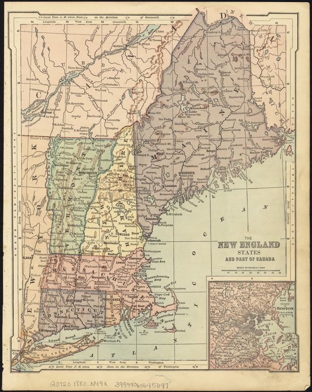 The New England states and part of Canada