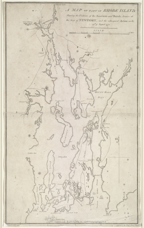 A map of part of Rhode Island shewing the positions of the American and British armies at the Siege of Newport, and the subsequent action on the 29th of August 1778