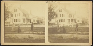 Unidentified people with house and barn beyond