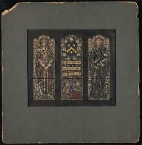 Three windows, two male figures flanking a window with a coat of arm